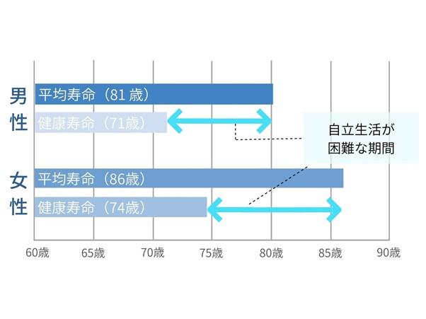 男女別平均寿命と健康寿命のグラフ