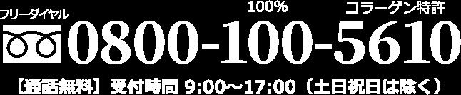 フリーダイヤル 0800-100-5610 【通話無料】受付時間9:00~17:00(土日祝日は除く)